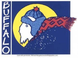 Cartoon Buffalo wearing scarf